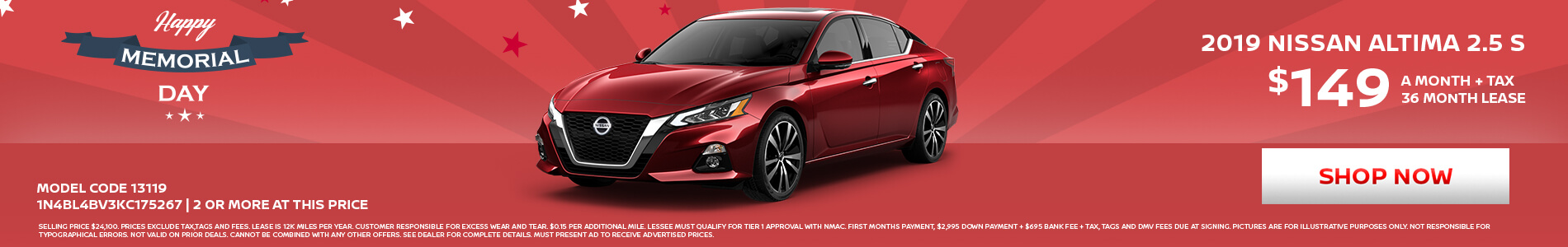 Nissan Altima $149 Lease