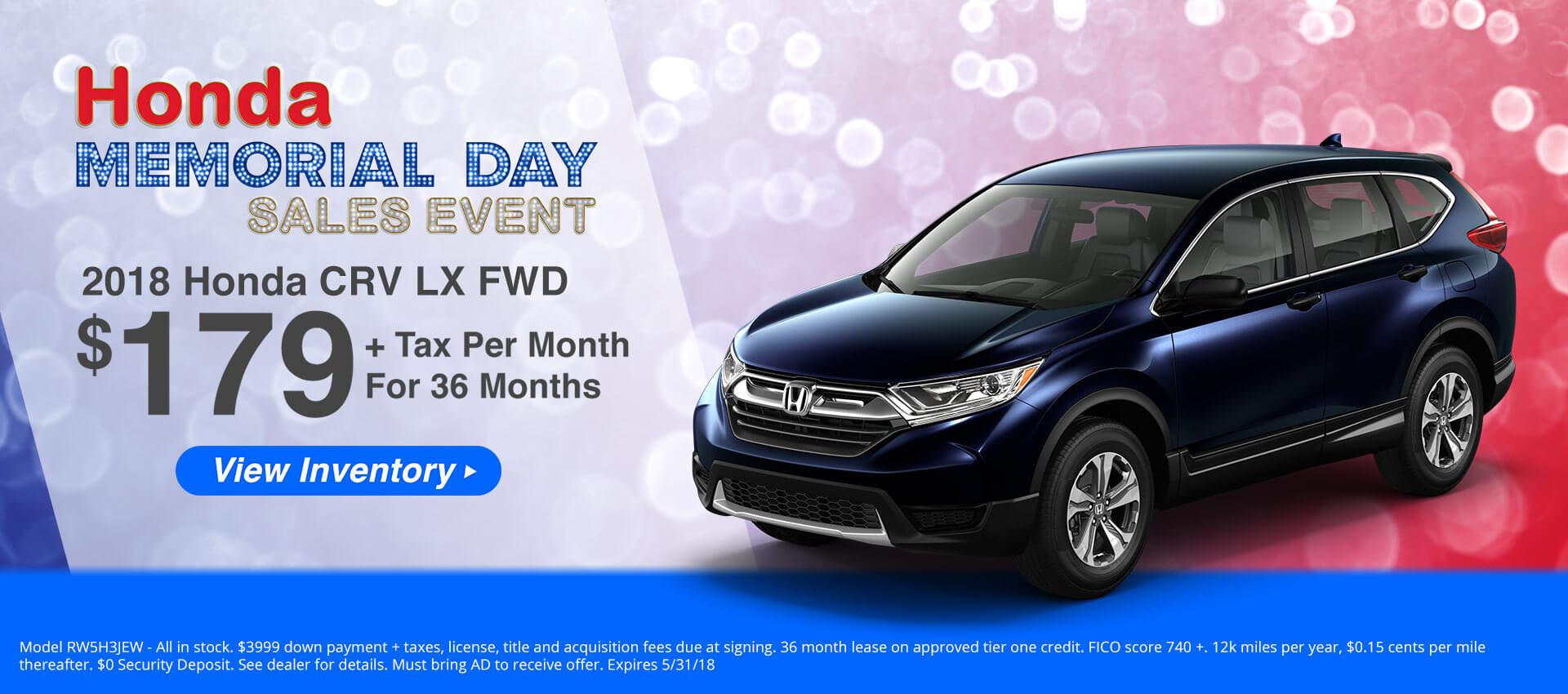 Honda CRV $179 Lease