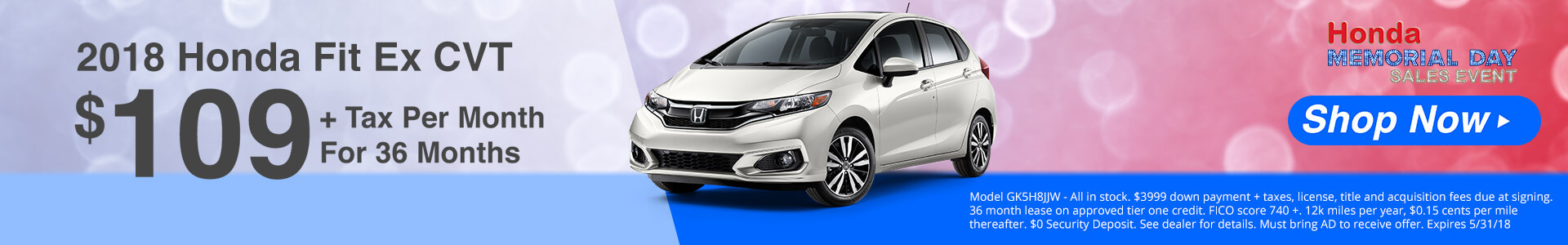 Honda Fit $109 Lease
