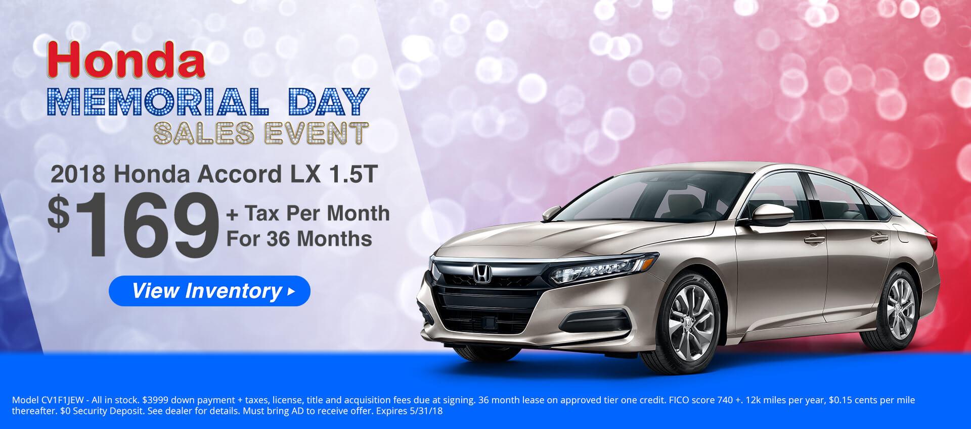 Honda Accord $169 Lease