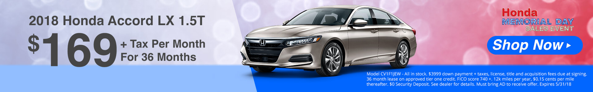 Honda Accord $169 Lease