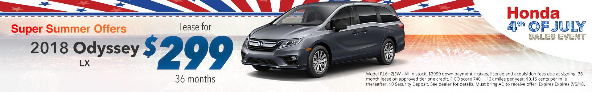Honda Odyssey $299 Lease