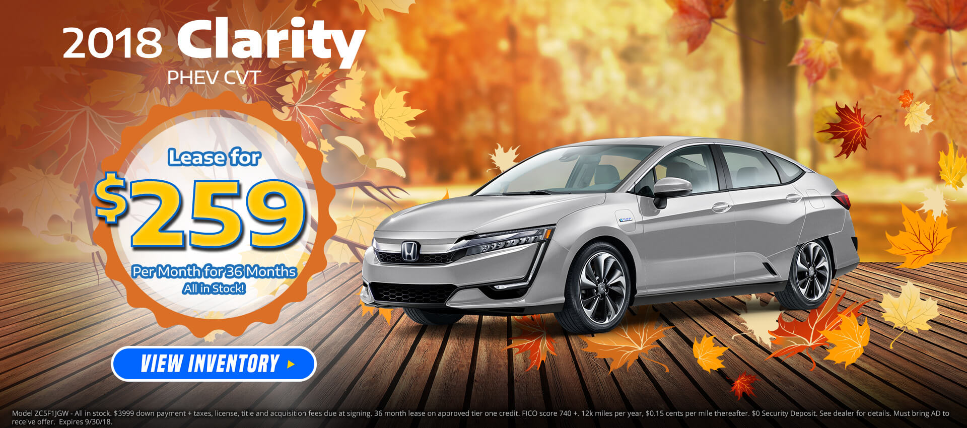 Honda Clarity PHEV $259 Lease