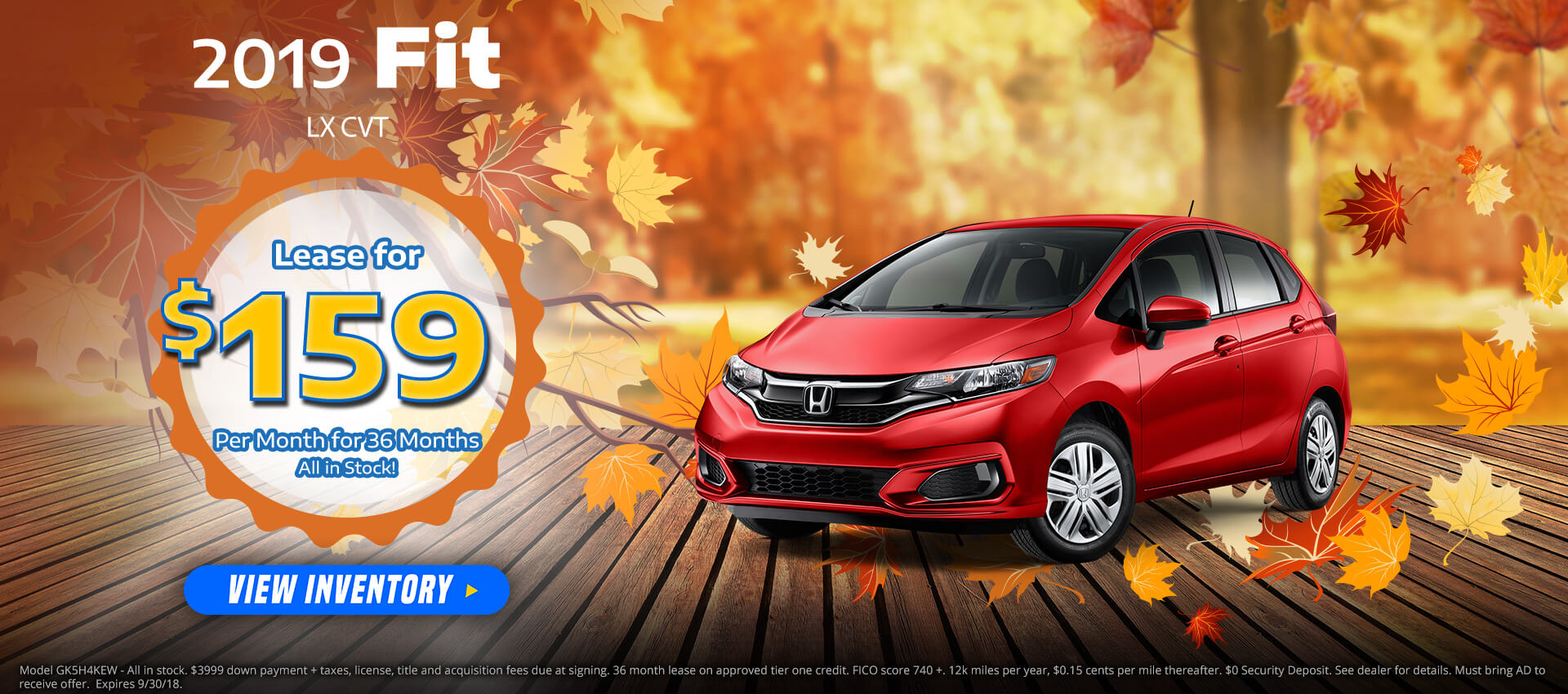 Honda Fit $159 Lease