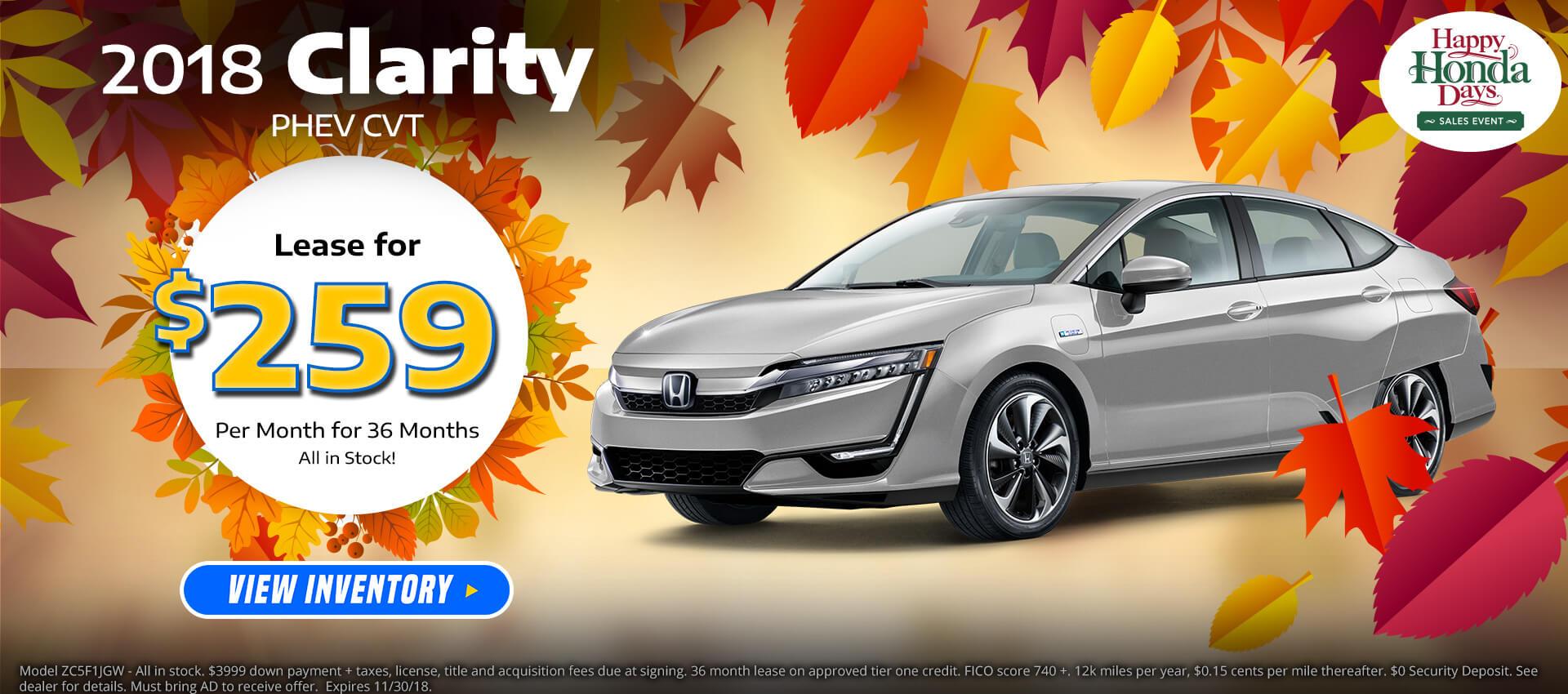 Honda Clarity PHEV $259 Lease