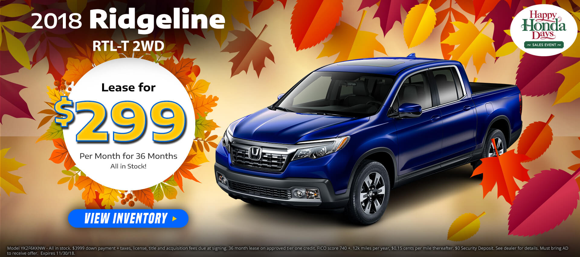 Honda Ridgeline $299 Lease