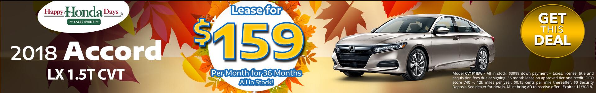 Honda Accord $159 Lease