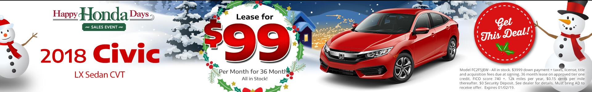 Honda Civic Sedan $99 Lease
