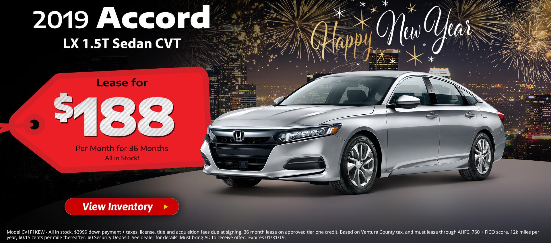 Honda Accord $188 Lease