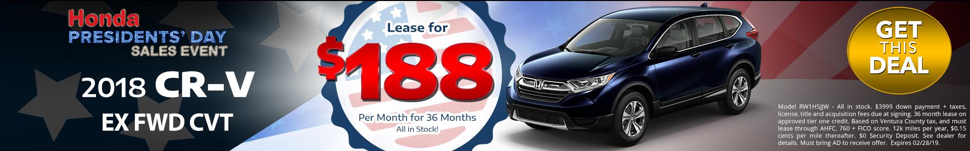 Honda CRV $188 Lease