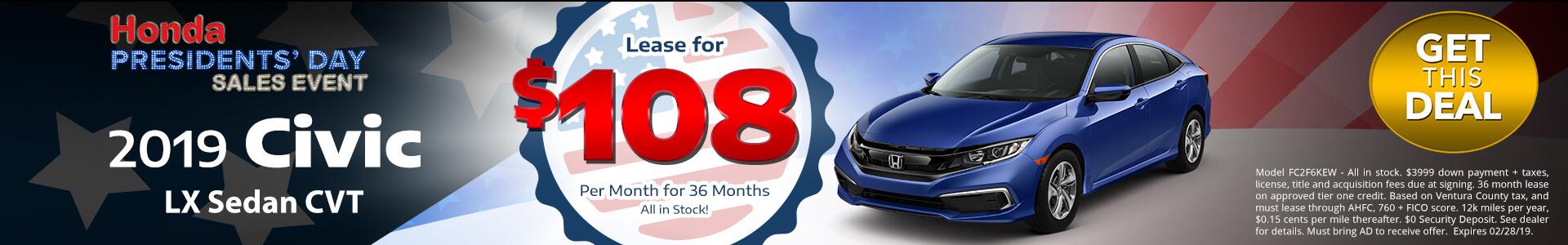 Honda Civic Sedan $108 Lease