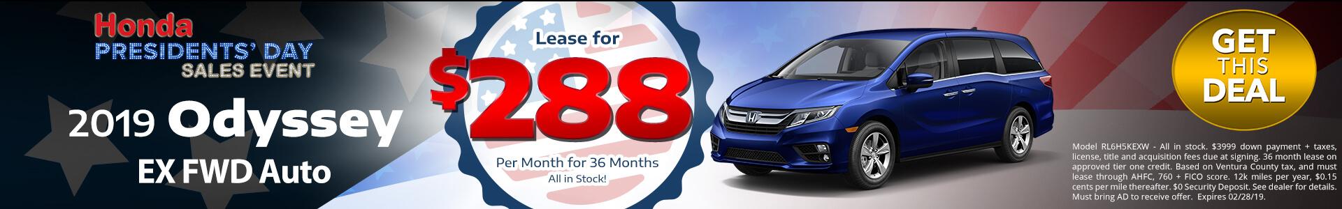 Honda Odyssey $288 Lease