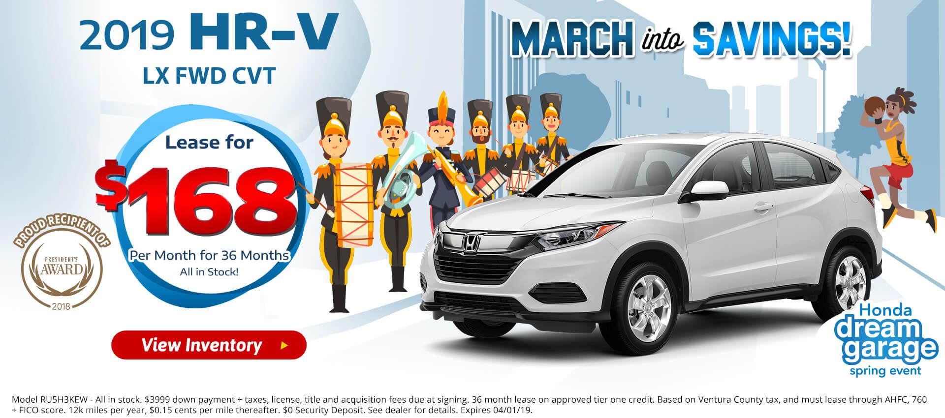 Honda HRV $168 Lease