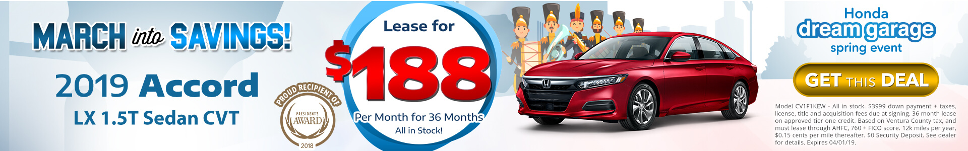 Honda Accord $188 Lease