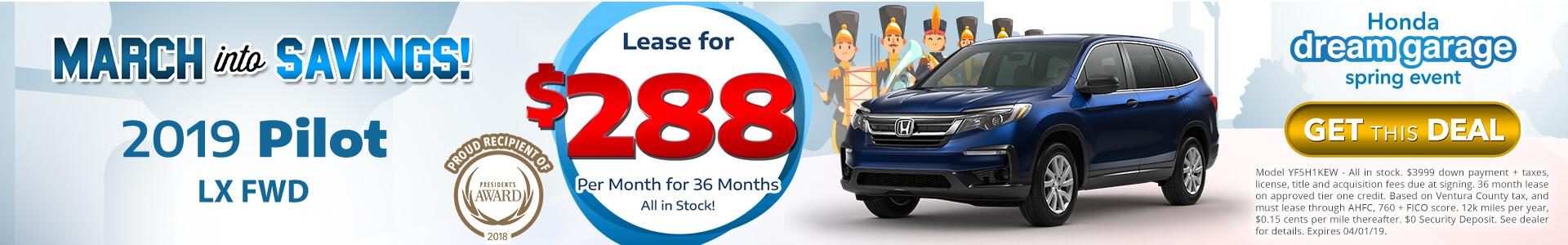 Honda Pilot $288 Lease