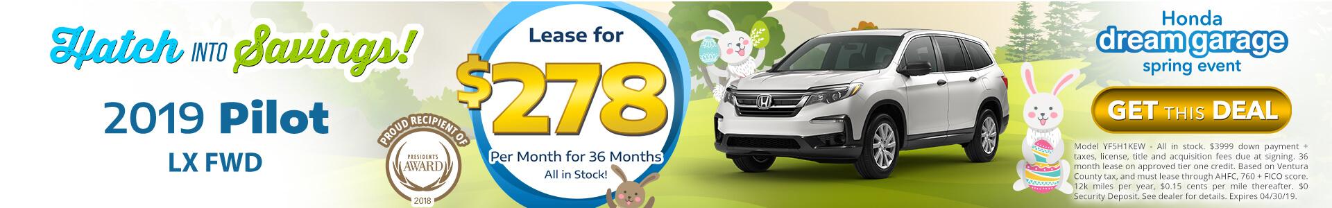Honda Pilot $278 Lease