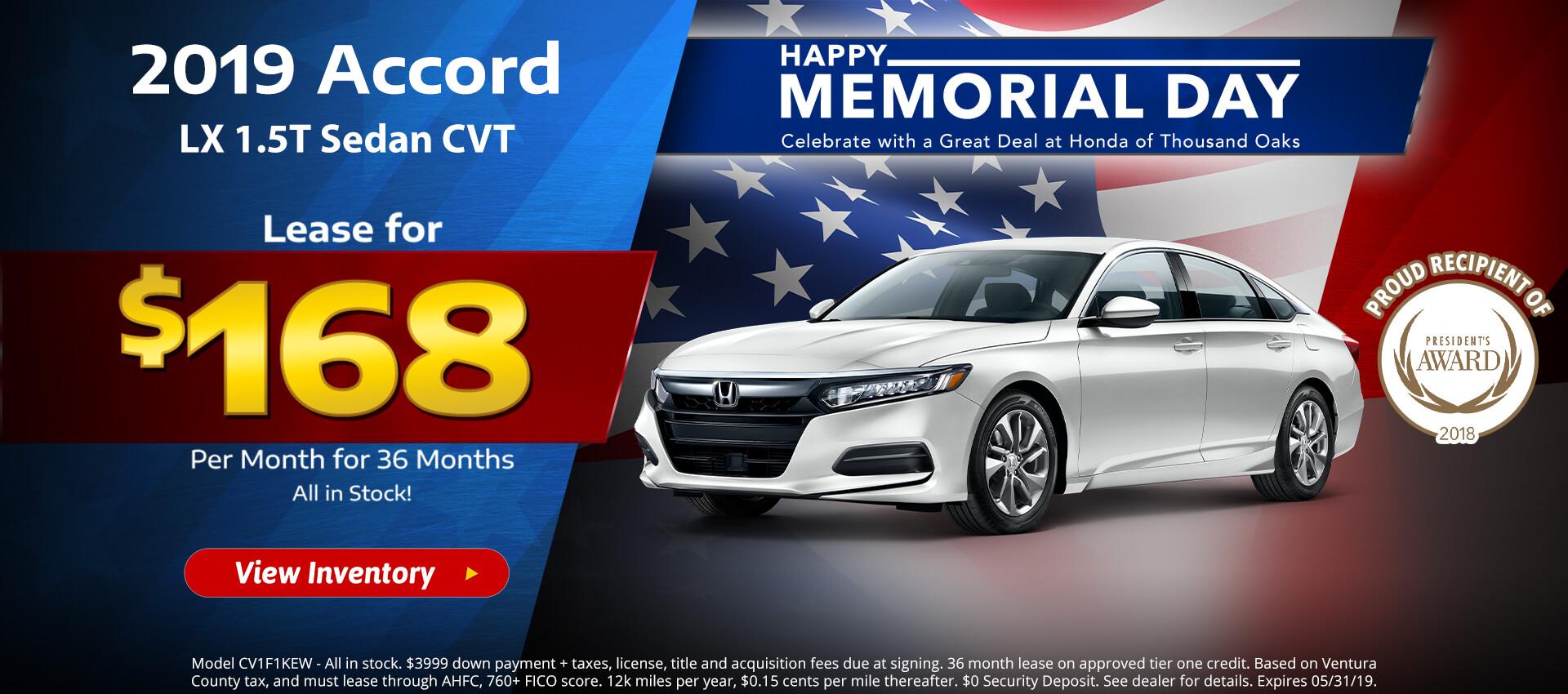 Honda Accord $168 Lease