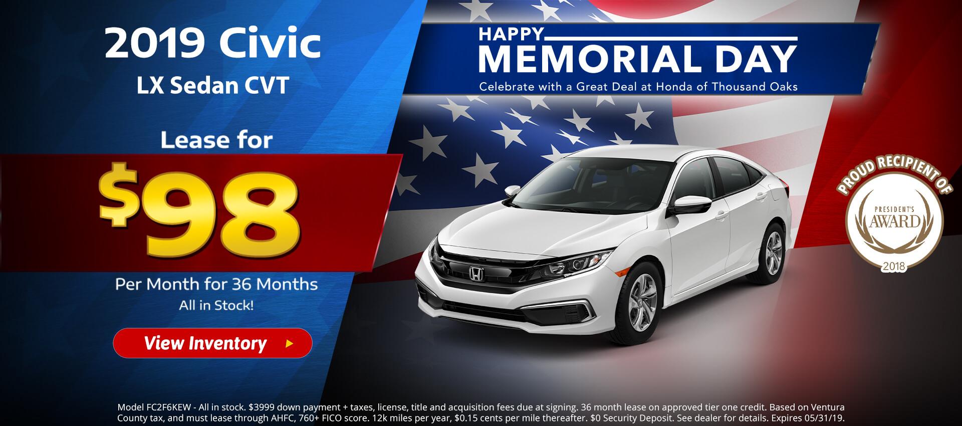 Honda Civic Sedan $98 Lease