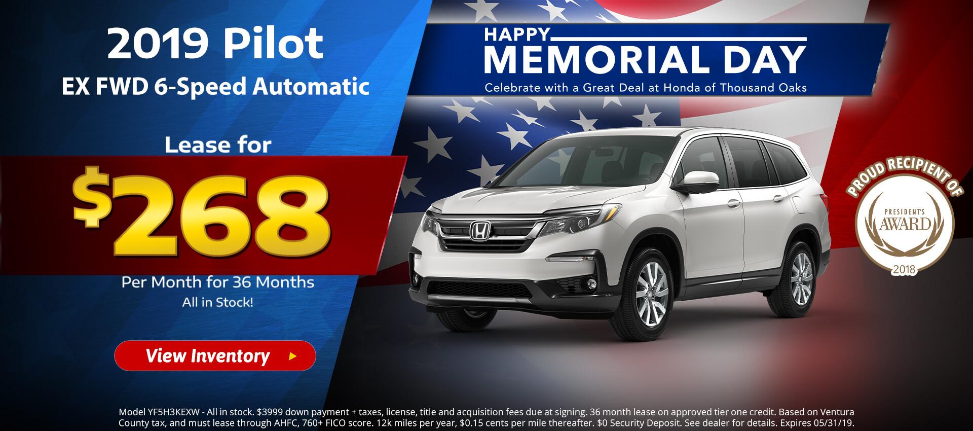Honda Pilot $268 Lease