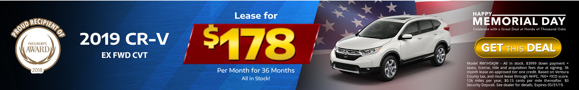Honda CRV $178 Lease