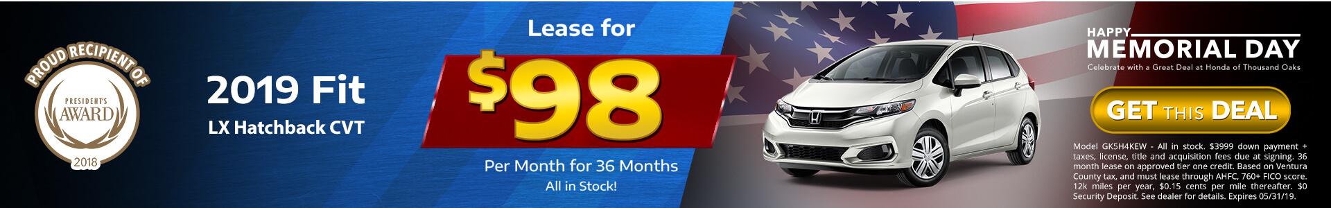 Honda Fit $98 Lease