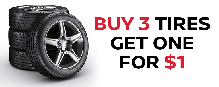 Buy 3 Tires Get 1 for $1
