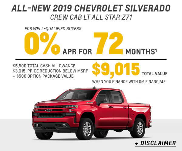 All New 2019 Silverado 1500 Finance or Stack Offer