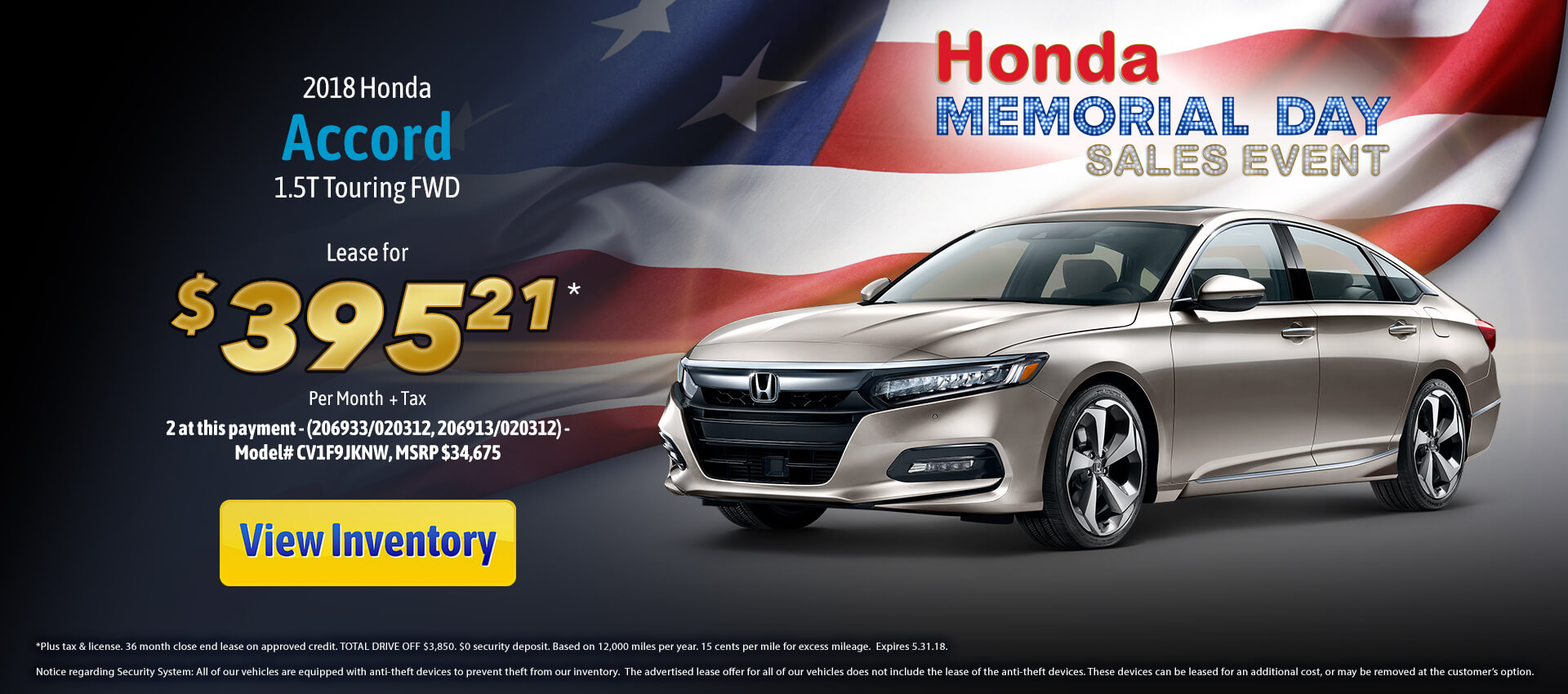 Accord Touring Lease $395.21