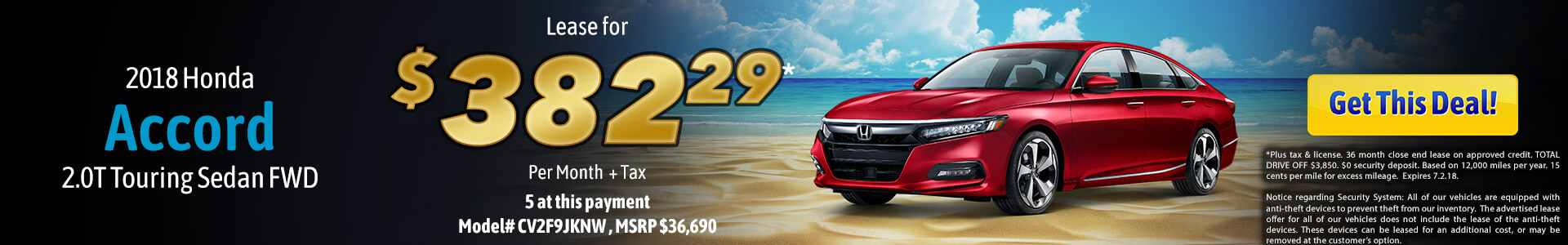 Accord 2.0 Touring Lease $395.31