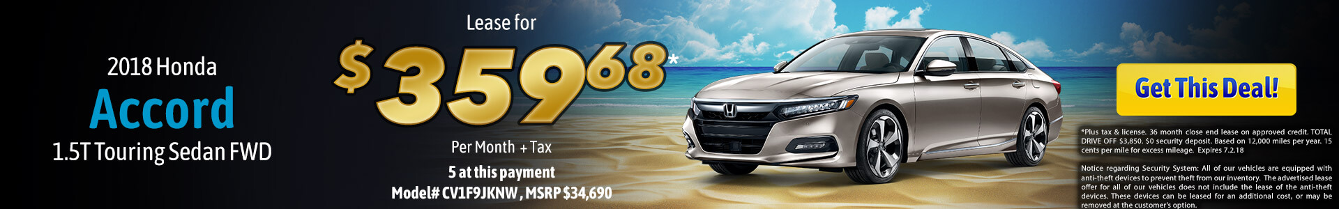 Accord 1.5 Touring Lease $357.95