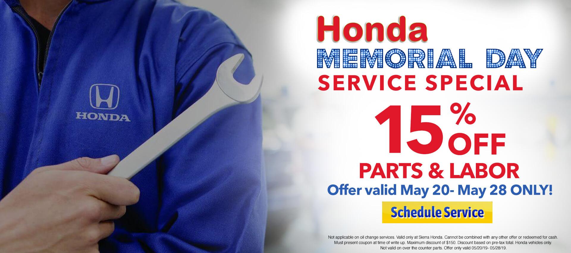 Memorial Day Service Special