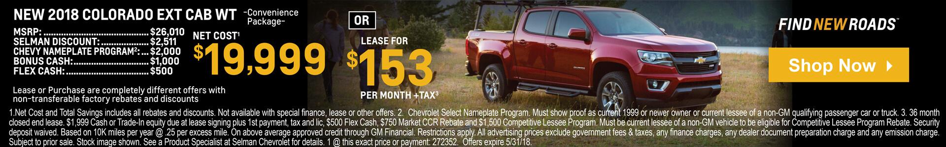 Colorado Extended Cab $19,999