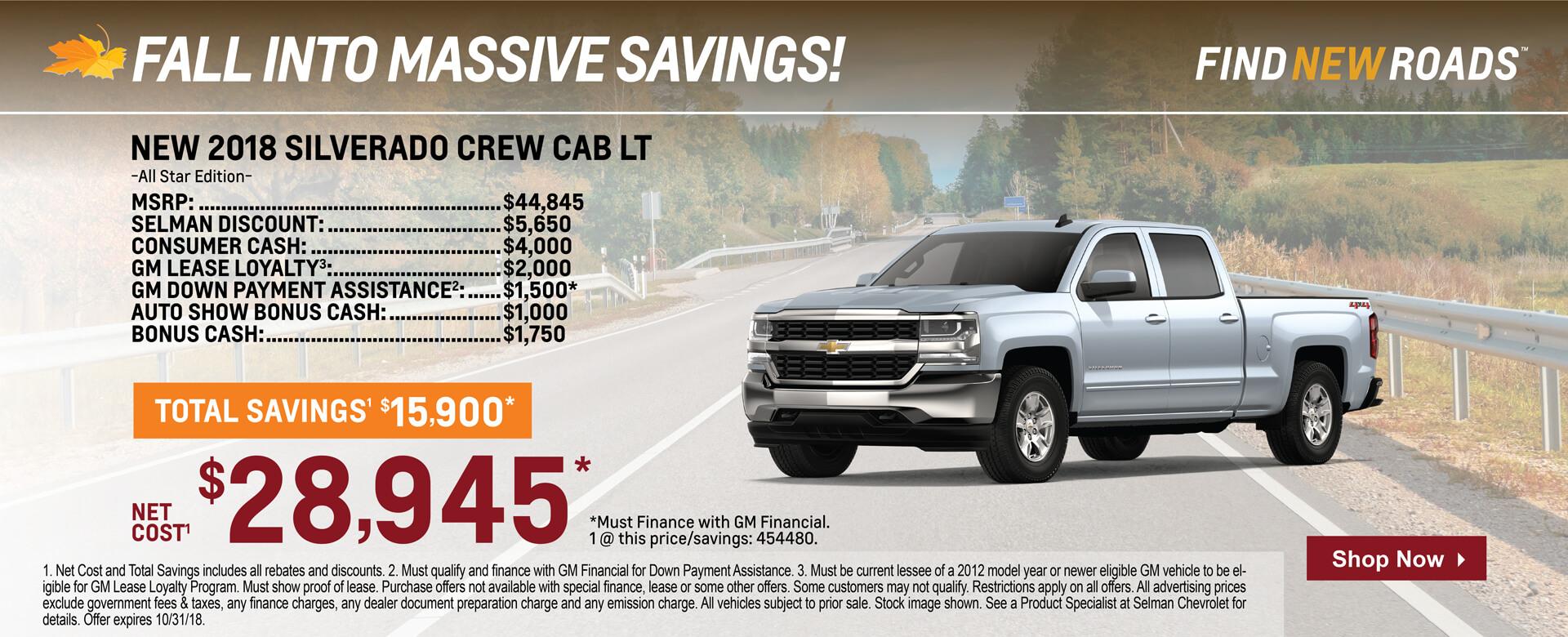 Silverado Crew Cab $29,945