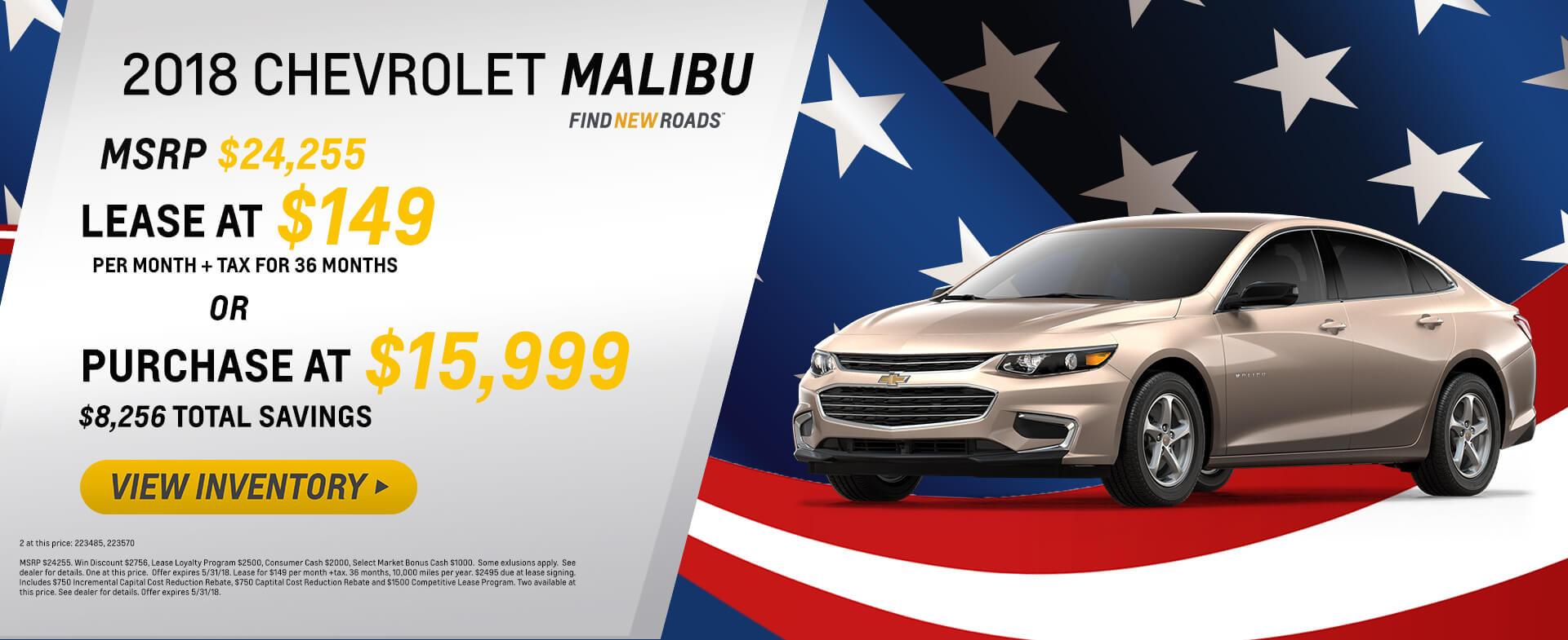 2018 Chevy Malibu $149