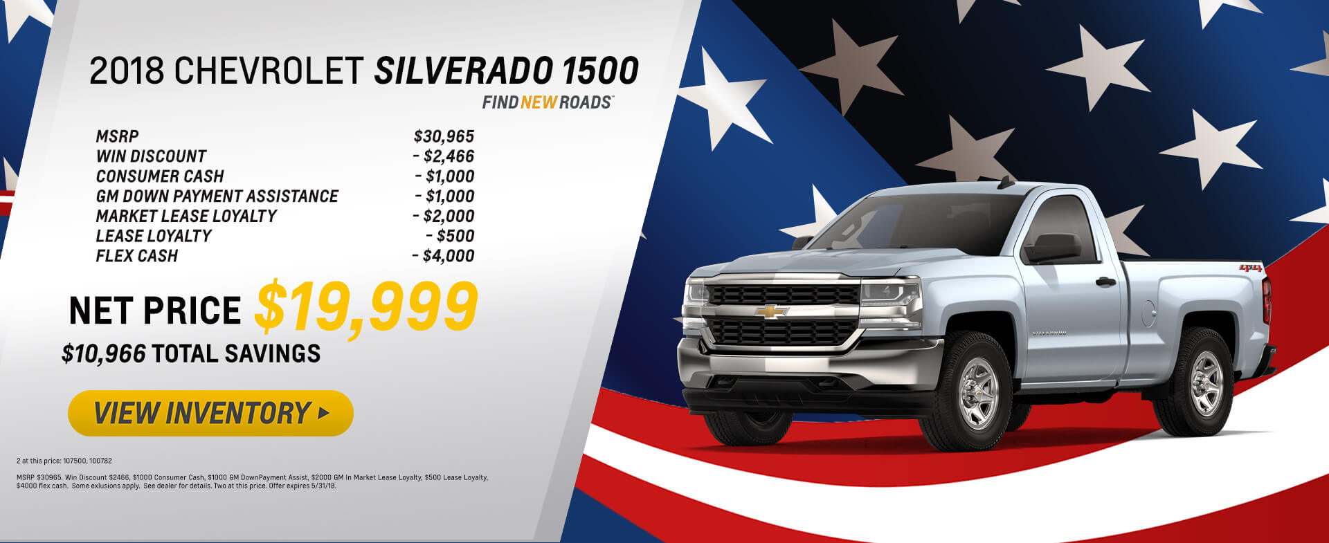 2018 Silverado 1500 $19,999