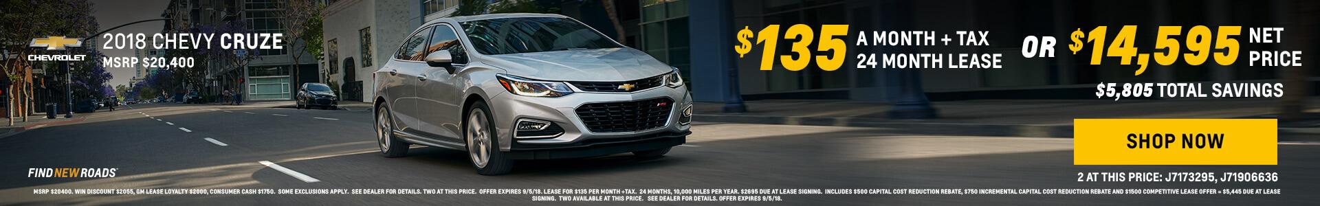 2018 Chevy Cruze $14595