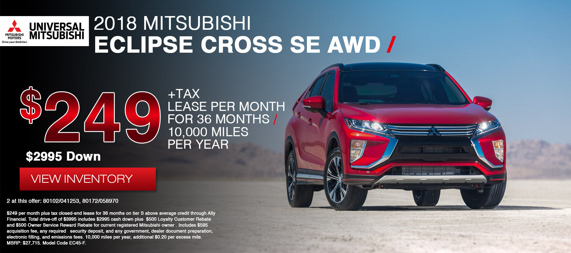 Mitsubishi Eclipse Cross SE $249 Lease