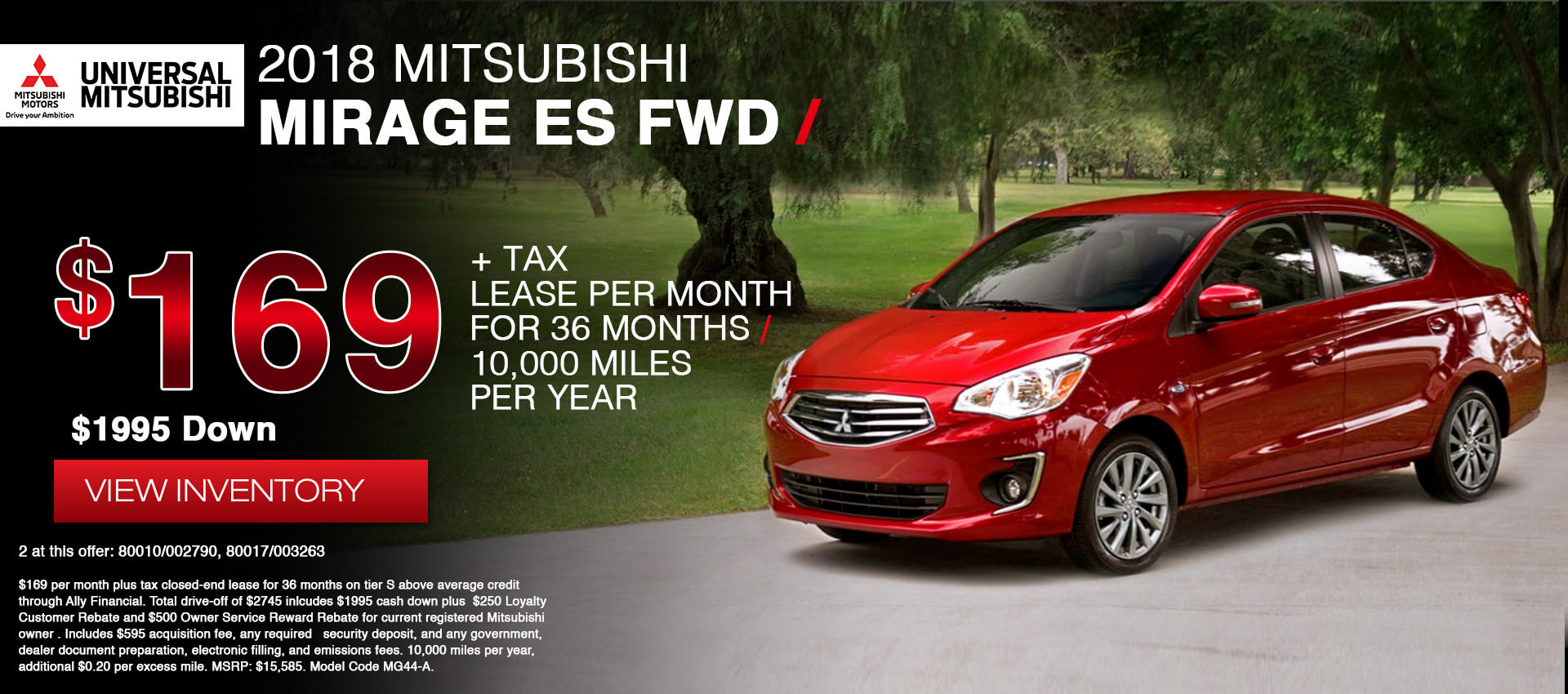 Mitsubishi Mirage $169 Lease