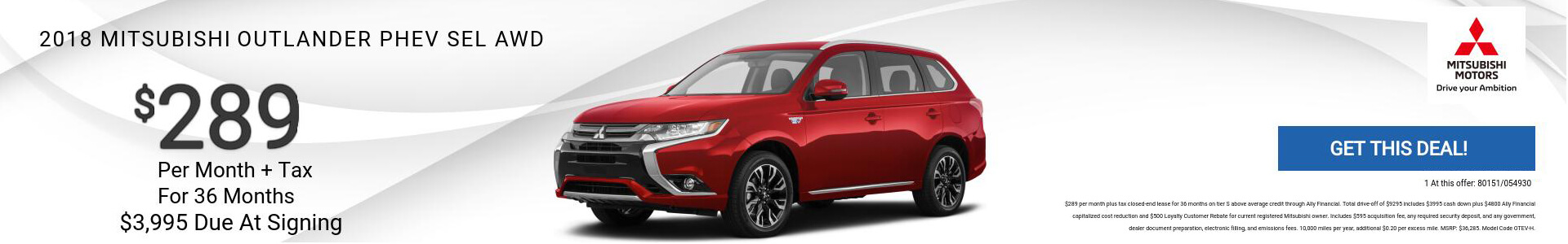 Mitsubishi Outlander PHEV $289 Lease