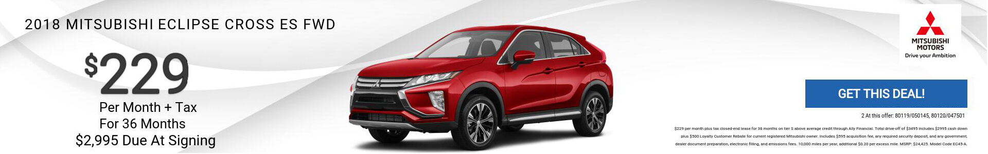 Mitsubishi Eclipse Cross ES $229 Lease