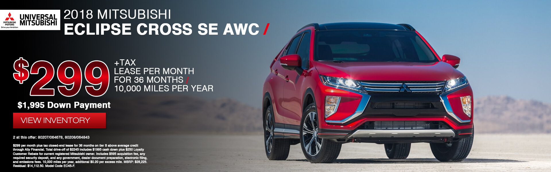 Mitsubishi Eclipse Cross SE $299 Lease