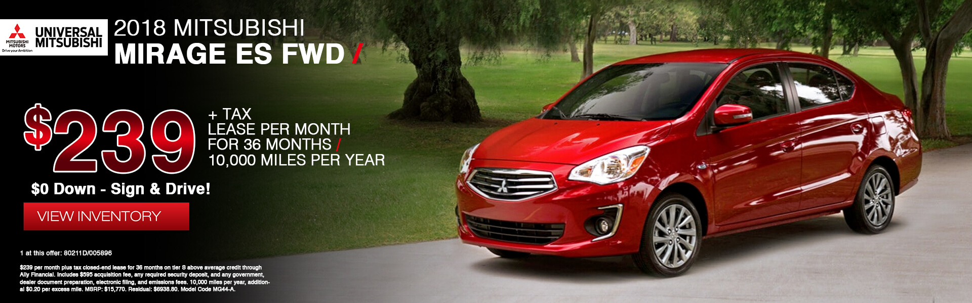 Mitsubishi Mirage $239 Lease