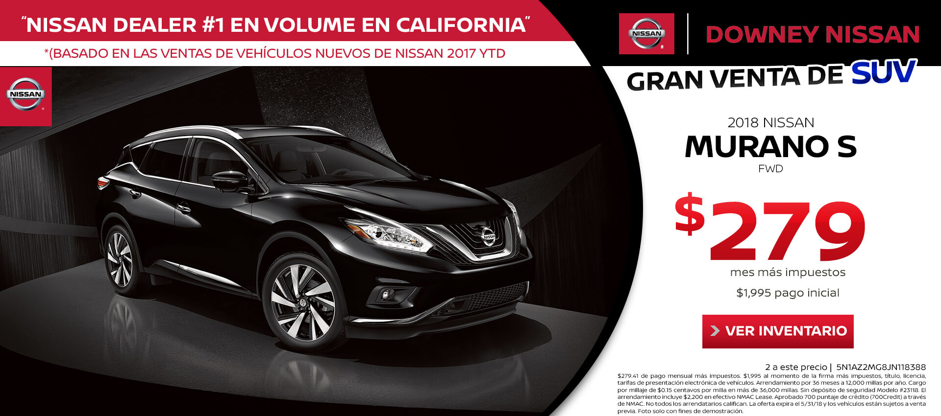 2018 Murano Lease for $279