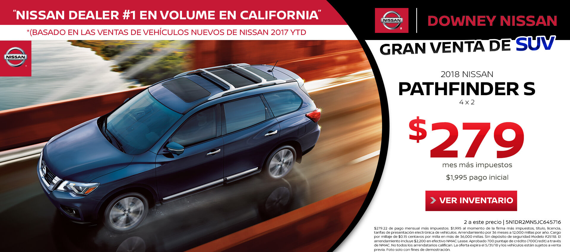 2018 Pathfinder Lease for $279