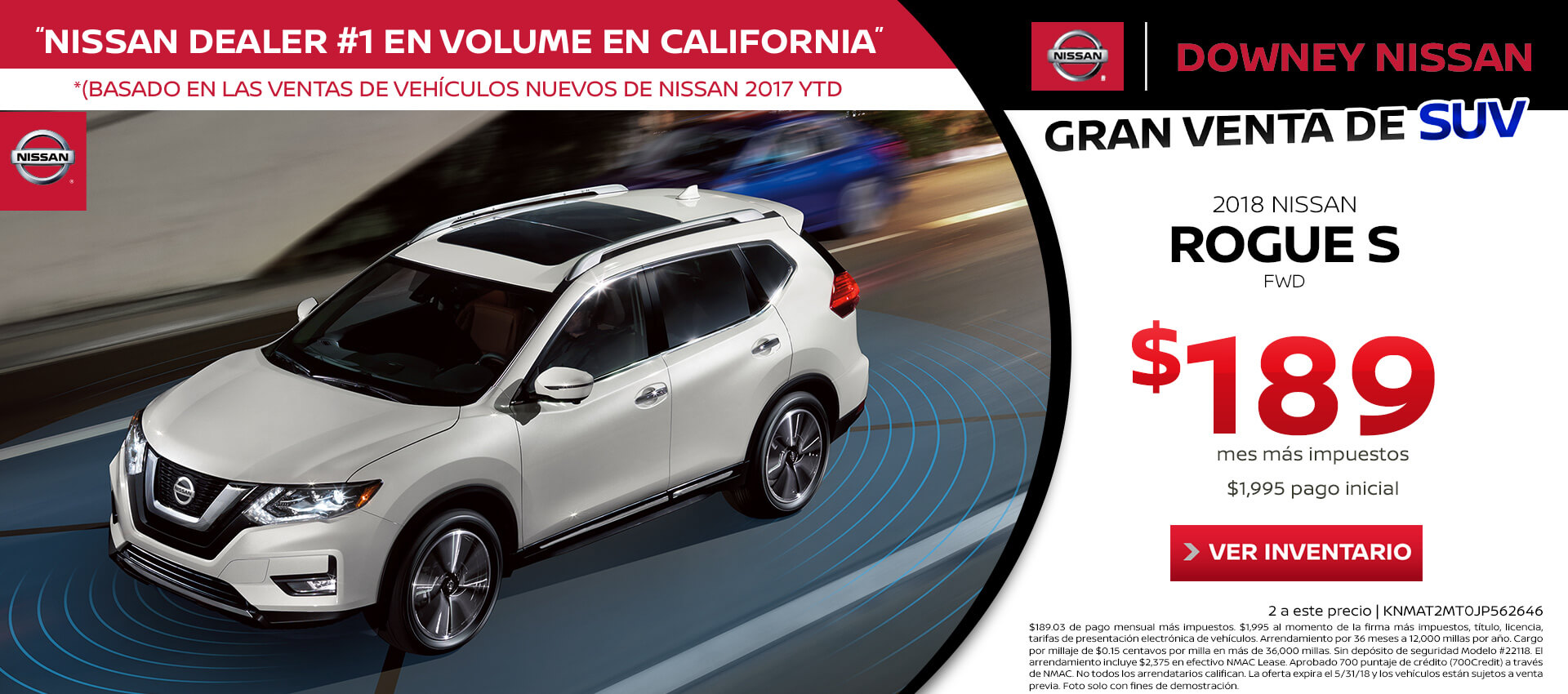 2018 Rogue Lease for $189