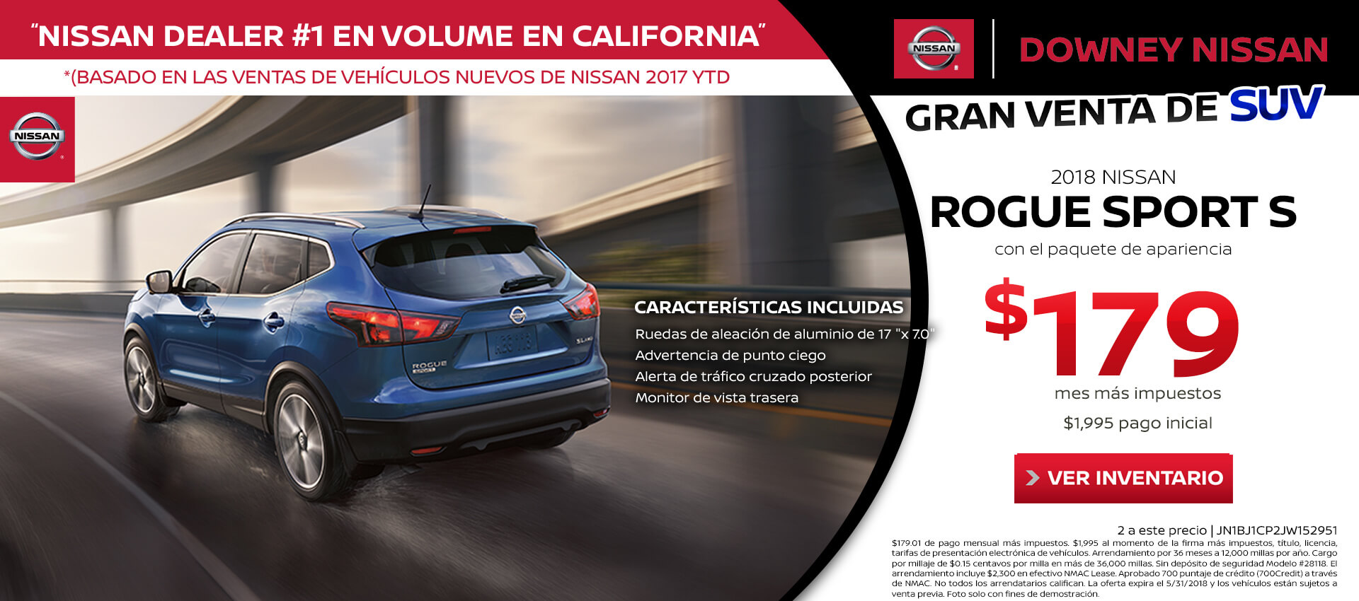 Rogue Sport Lease for $179