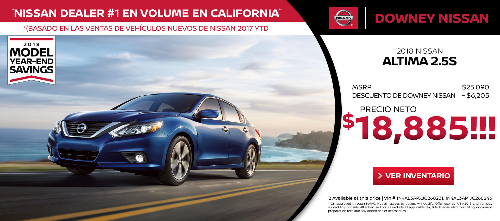2018 Altima - Purchase for $18,885