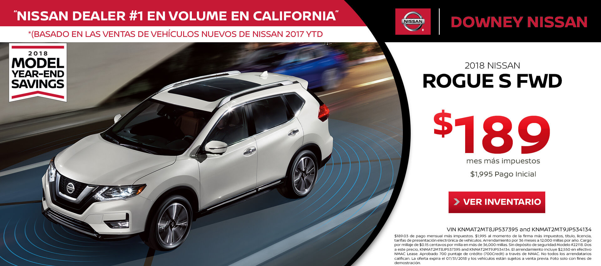2018 Rogue - Lease for $189