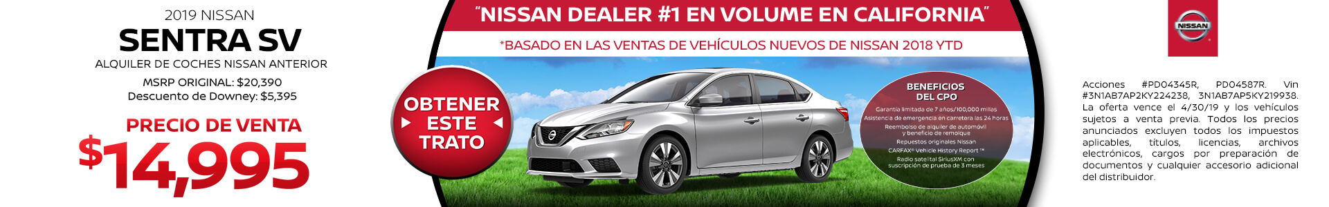 2019 Nissan Sentra - Purchase for $14,995