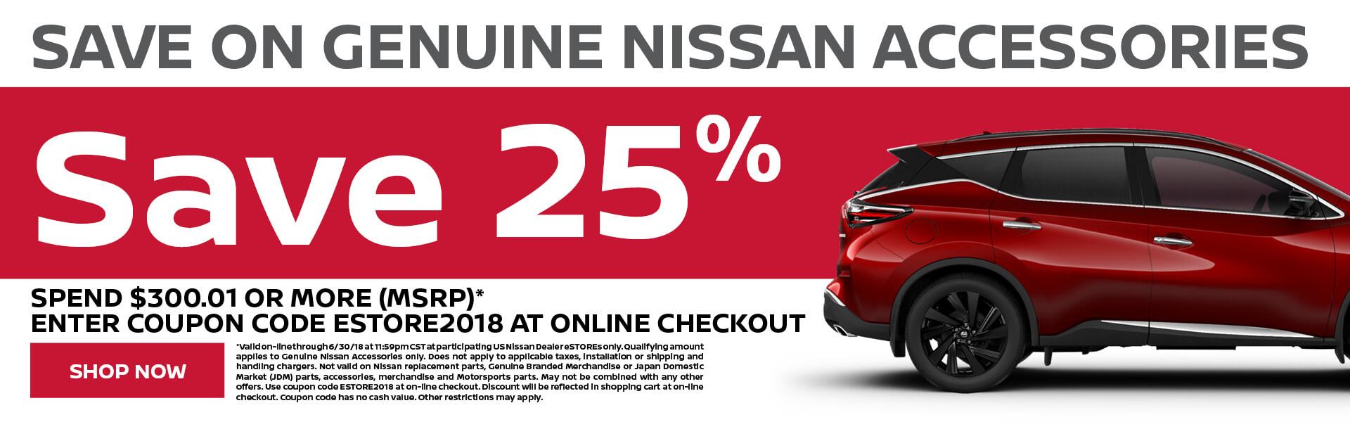 Nissan Accessories Save 25%